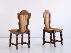 Victor Courtray Set of Six Victor Courtray Attributed Dining Chairs in Oak and Rush 1950s - 2047076