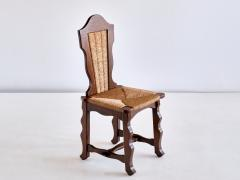 Victor Courtray Set of Six Victor Courtray Attributed Dining Chairs in Oak and Rush 1950s - 2047078
