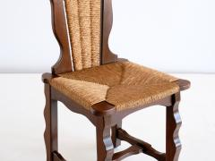 Victor Courtray Set of Six Victor Courtray Attributed Dining Chairs in Oak and Rush 1950s - 2047081