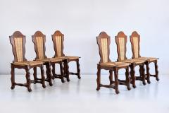Victor Courtray Set of Six Victor Courtray Attributed Dining Chairs in Oak and Rush 1950s - 2047083