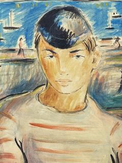Victor Manuel Villarreal Young Man in Striped Shirt by Victor Manuel Cuba Gouache watercolor - 2129029