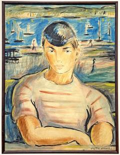 Victor Manuel Villarreal Young Man in Striped Shirt by Victor Manuel Cuba Gouache watercolor - 2129121