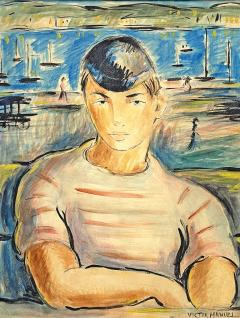 Victor Manuel Villarreal Young Man in Striped Shirt by Victor Manuel Cuba Gouache watercolor - 2129993