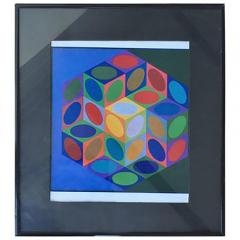 Victor Vasarely Series 1977 Victor Vasarely Colorful Optic Silkscreen - 413521