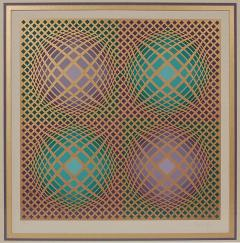 Victor Vasarely Signed Victor Vasarely Op Art Serigraph Vilag with COA - 1749216