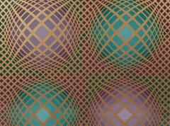 Victor Vasarely Signed Victor Vasarely Op Art Serigraph Vilag with COA - 1749223