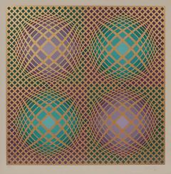 Victor Vasarely Signed Victor Vasarely Op Art Serigraph Vilag with COA - 1750355