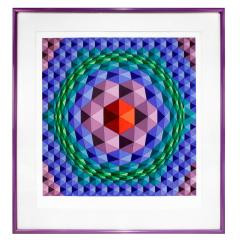 Victor Vasarely Victor Vasarely Geometric Print With Purple Frame 1970s - 275111