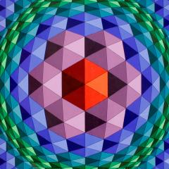 Victor Vasarely Victor Vasarely Geometric Print With Purple Frame 1970s - 275112