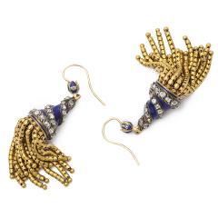 Victorian Blue Enamel and Gold Tassel Earrings - 170344