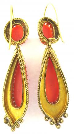 Victorian Cameo Coral Drop Earrings - 184585
