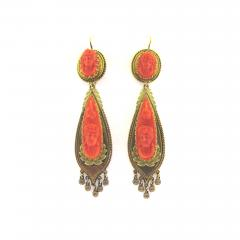 Victorian Cameo Coral Drop Earrings - 184616