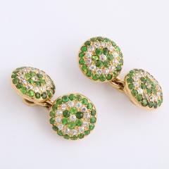 Victorian Demantoid Garnet and Diamond Double Cufflinks - 991708