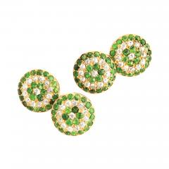 Victorian Demantoid Garnet and Diamond Double Cufflinks - 1228874