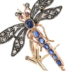 Victorian Dragonfly Brooch with Diamonds Rubies and Sapphires - 117832