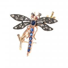 Victorian Dragonfly Brooch with Diamonds Rubies and Sapphires - 117982