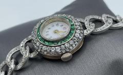 Victorian Emerald Diamond Watch - 1775576
