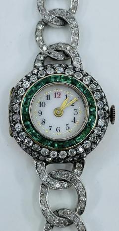 Victorian Emerald Diamond Watch - 1775577