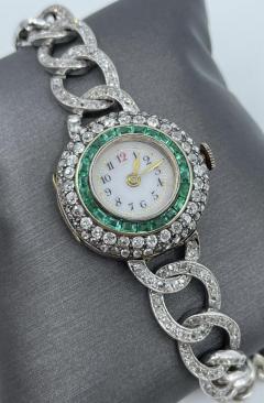 Victorian Emerald Diamond Watch - 1775579