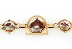 Victorian Equestrian Reverse Crystal Intaglio Gold Bracelet - 181583