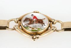 Victorian Equestrian Reverse Crystal Intaglio Gold Bracelet - 181584