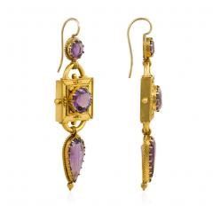 Victorian Etruscan Revival Gold and Amethyst Pendant Earrings - 1688457