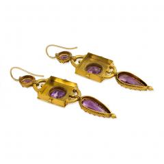 Victorian Etruscan Revival Gold and Amethyst Pendant Earrings - 1688458