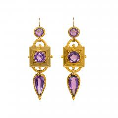 Victorian Etruscan Revival Gold and Amethyst Pendant Earrings - 1688885