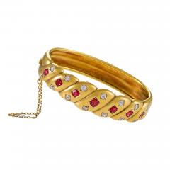 Victorian Gold Bangle Bracelet with Rubies and Diamonds - 986646