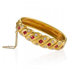Victorian Gold Bangle Bracelet with Rubies and Diamonds - 1099742