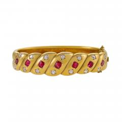 Victorian Gold Bangle Bracelet with Rubies and Diamonds - 1100504