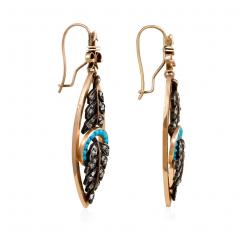 Victorian Gold Diamond and Turquoise Navette Shaped Earrings - 698500