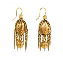 Victorian Gold Earring of Bead and Fringe Design - 1019086