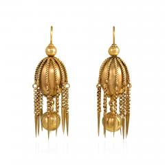 Victorian Gold Earring of Bead and Fringe Design - 1019090