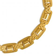 Victorian Gold Oblong Link Collar Necklace with Brick Link Spacers in 15K - 1335050