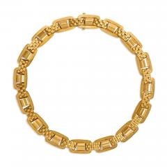 Victorian Gold Oblong Link Collar Necklace with Brick Link Spacers in 15K - 1335097