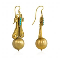 Victorian Gold Pendant Earrings with Scroll Motifs and Turquoise Accents - 1219117