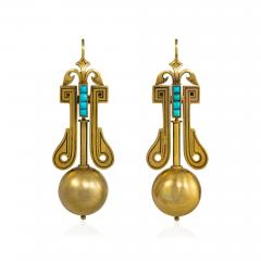 Victorian Gold Pendant Earrings with Scroll Motifs and Turquoise Accents - 1219171