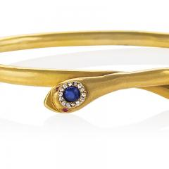 Victorian Gold Snake Bangle with Diamond Sapphire and Ruby - 1170458