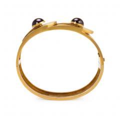 Victorian Gold and Cabochon Garnet Cuff Bracelet - 683249