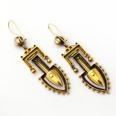 Victorian Gold and Enamel Archaeological Revival Earrings - 239927