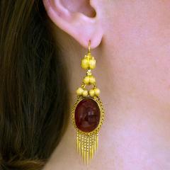 Victorian Gold and Garnet Fringe Earrings - 1141193