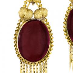 Victorian Gold and Garnet Fringe Earrings - 1141194