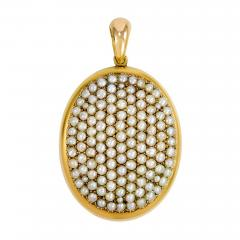 Victorian Gold and Pav Pearl Locket - 80419
