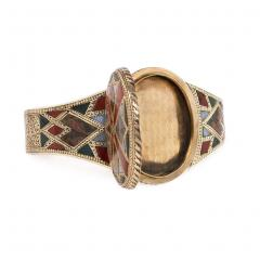 Victorian Gold and Scottish Agate Bangle Bracelet with Locket Center - 1715399