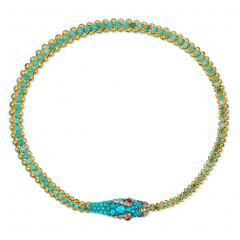 Victorian Gold and Turquoise Articulated Serpent Necklace - 1071624