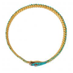 Victorian Gold and Turquoise Articulated Serpent Necklace - 1071625