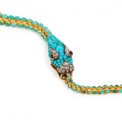 Victorian Gold and Turquoise Articulated Serpent Necklace - 1071627