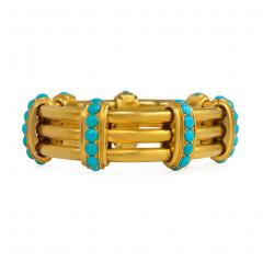 Victorian Gold and Turquoise Open Ribbed Bracelet - 1021235