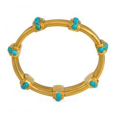 Victorian Gold and Turquoise Open Ribbed Bracelet - 1021236
